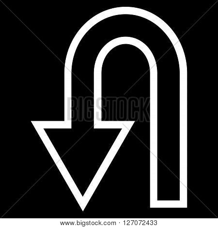 Turn Back vector icon. Style is outline icon symbol, white color, black background.