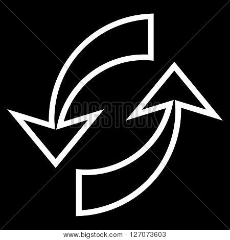 Update Arrows vector icon. Style is outline icon symbol, white color, black background.