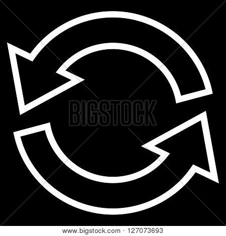 Update Arrows vector icon. Style is stroke icon symbol, white color, black background.