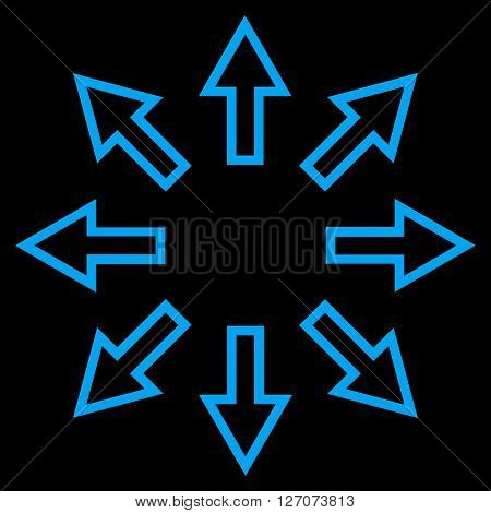 Explode Arrows vector icon. Style is contour icon symbol, blue color, black background.