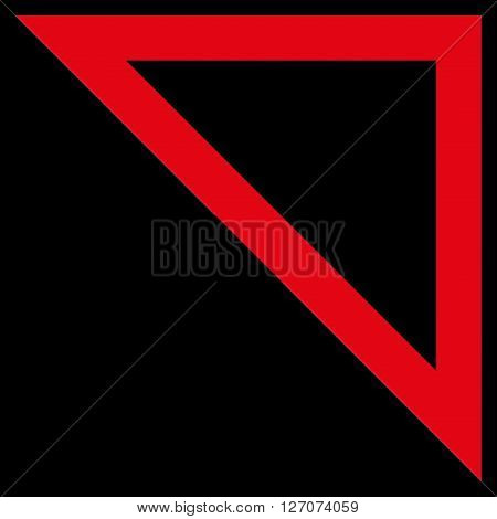 Arrowhead Right Up vector icon. Style is stroke icon symbol, red color, black background.