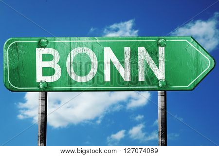 Bonn road sign, on a blue sky background
