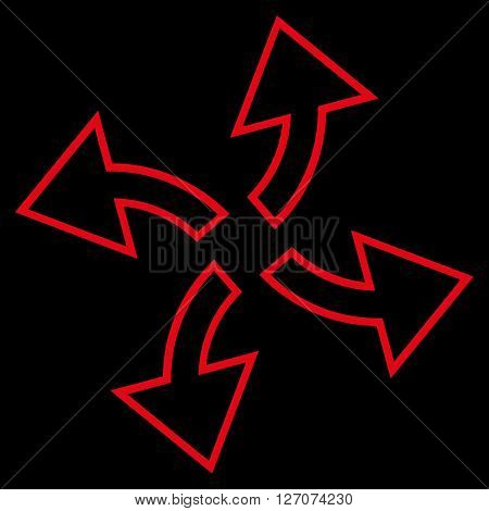 Centrifugal Arrows vector icon. Style is stroke icon symbol, red color, black background.