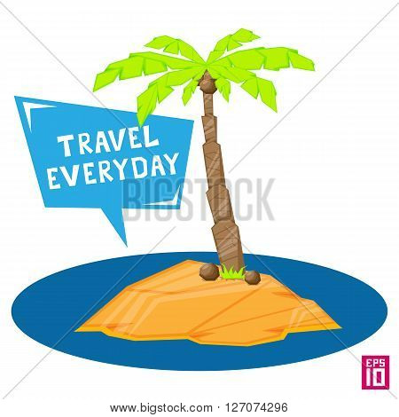 Vector palm tree with coconuts isolated on white background. Coconuts on the sand of an island.