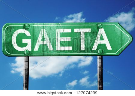 Gaeta road sign, on a blue sky background