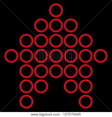 Circle Arrow Up vector icon. Style is thin line icon symbol, red color, black background.
