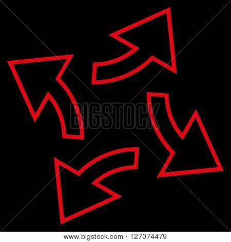 Circular Exchange Arrows vector icon. Style is contour icon symbol, red color, black background.