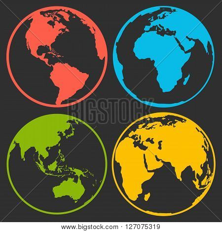 Set of earth planet globe logo icons for web and app. Vector travel earth planet concept on black background