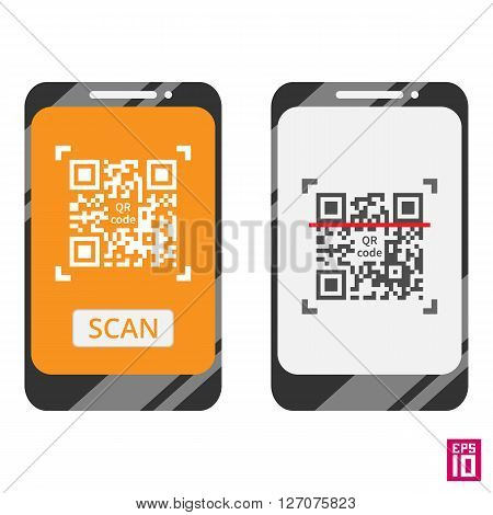 Vector smartphone scan QR code template. Elements grouped in different layers for convenient editing.