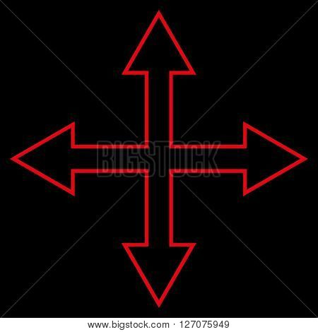 Maximize Arrows vector icon. Style is outline icon symbol, red color, black background.