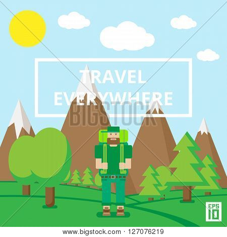Vector landscape flat illustrationwith words travel everywhere and a traveller.