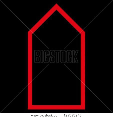 Pointer Up vector icon. Style is thin line icon symbol, red color, black background.