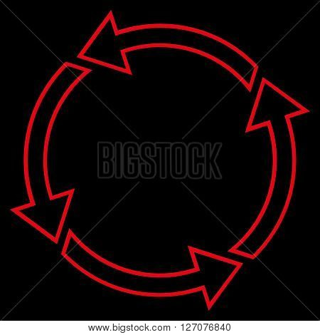 Rotation Ccw vector icon. Style is outline icon symbol, red color, black background.