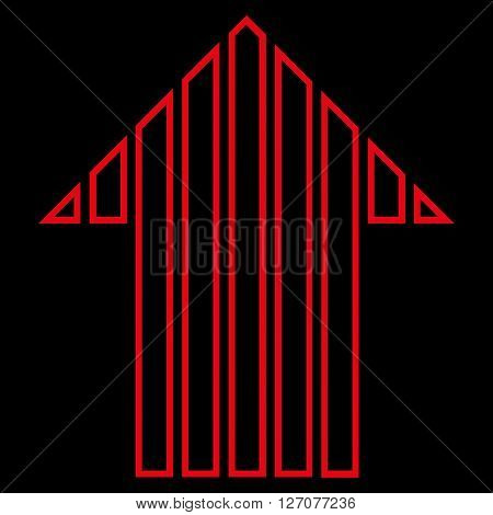 Stripe Arrow Up vector icon. Style is thin line icon symbol, red color, black background.