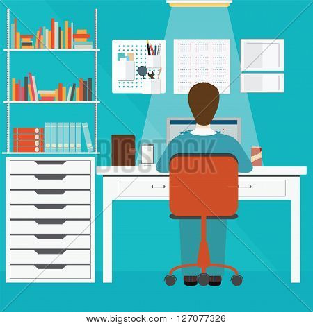 Businessman working in home office office people office interior office workers office work busy office life conceptual vector illustration.