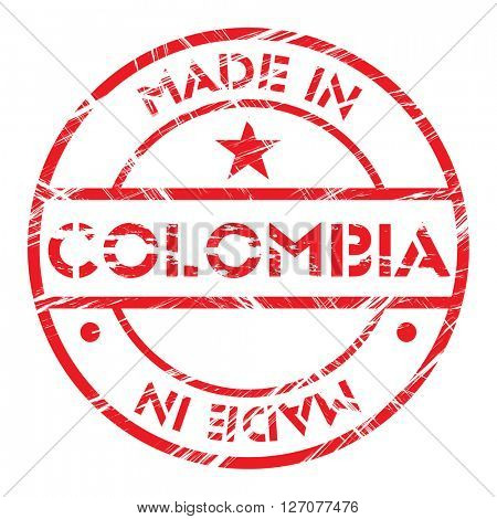 Made in Colombia grunge rubber stamp
