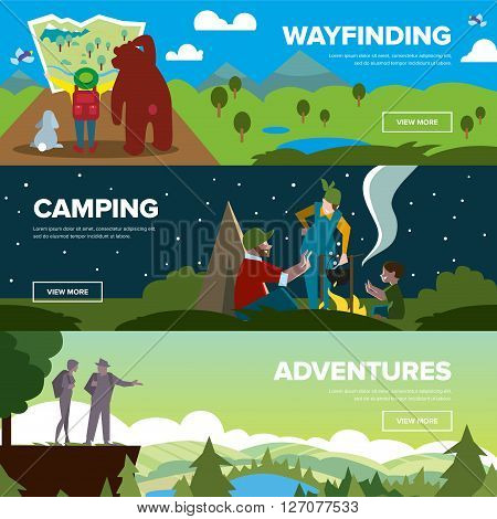 Hiking and adventure banners. Weekend journey. Vector illustration. Activity life. Outdoor leisure. House on wheels.