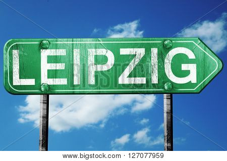 Leipzig road sign, on a blue sky background