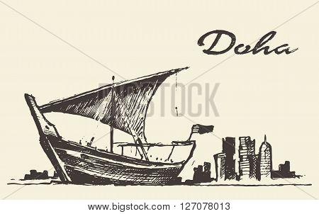 Doha skyline with Dhow Qatar vector illustration hand drawn sketch