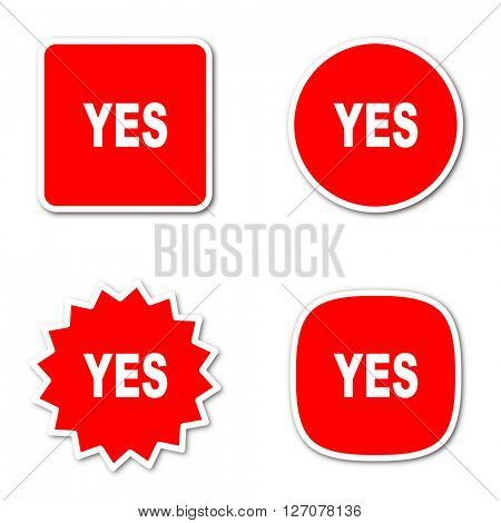 yes simple red web internet icon set flat design sticker tag