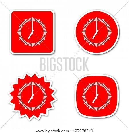 time simple red web internet icon set flat design sticker tag