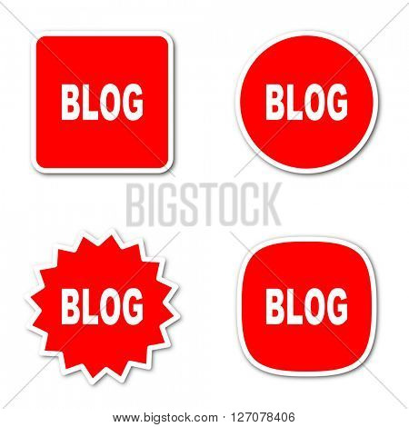 blog simple red web internet icon set flat design sticker tag