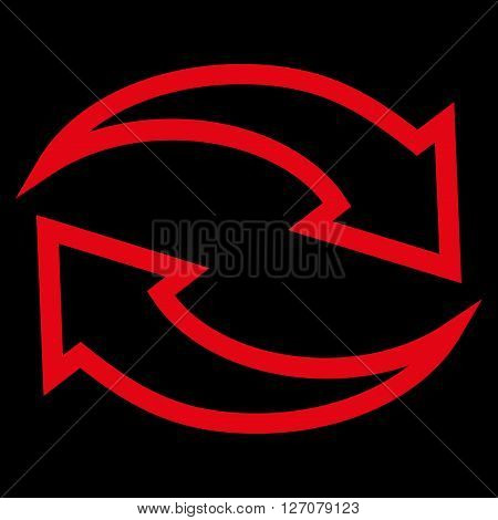 Update Arrows vector icon. Style is stroke icon symbol, red color, black background.