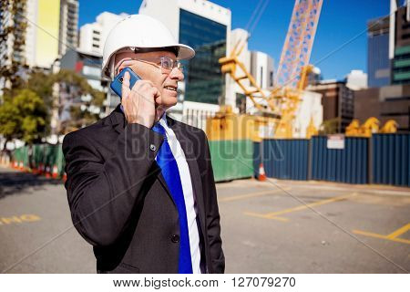 Businessman at construction site
