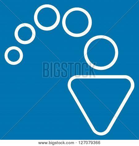 Redo vector icon. Style is contour icon symbol, white color, blue background.
