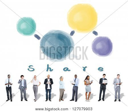 Share Sharing Connecting Network Social Media Concept