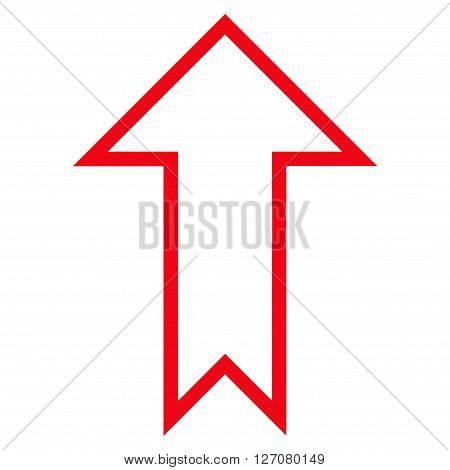 Arrow Up vector icon. Style is contour icon symbol, red color, white background.