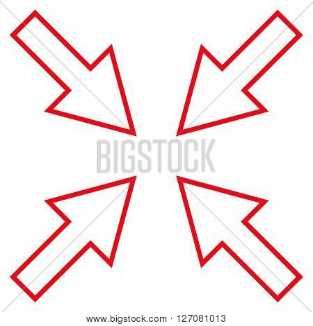 Compact Arrows vector icon. Style is contour icon symbol, red color, white background.