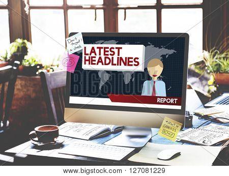 Latest Headlines Breaking Communication News Concept