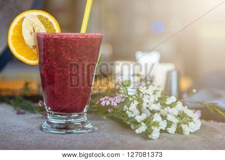 smoothie from blueberry banana and orange juice