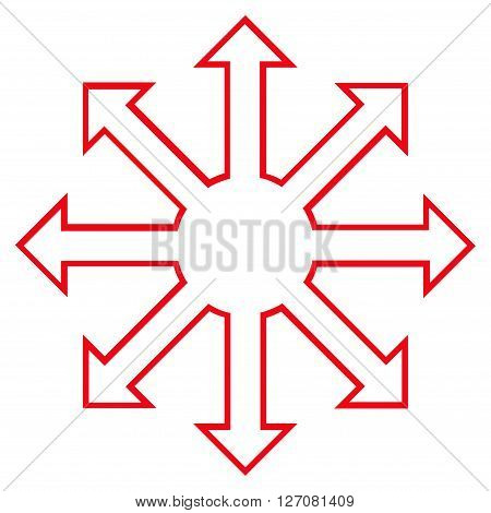 Enlarge Arrows vector icon. Style is thin line icon symbol, red color, white background.