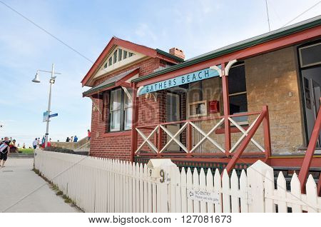 FREMANTLE,WA,AUSTRALIA-JANUARY 26,2016: Bather's Beach House restaurant exterior with brick and limestone construction in Fremantle, Western Australia.