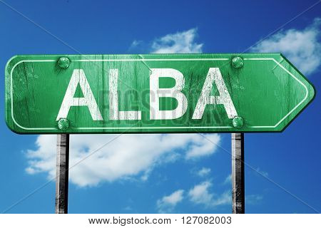 Alba road sign, on a blue sky background
