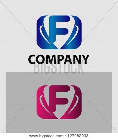 Letter F logo. Letter F logo icon design template elements