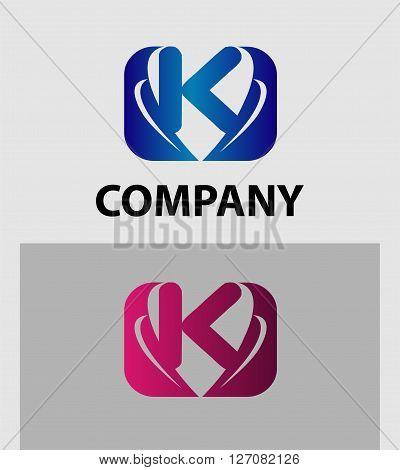 Letter K logo design. Letter K logo icon design template elements
