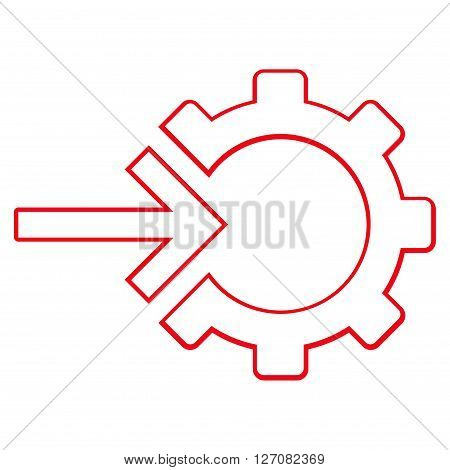 Integration Arrow vector icon. Style is thin line icon symbol, red color, white background.