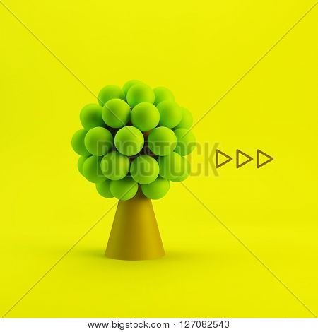 Tree. Concept for Business, Social Media, Technology, Network and Web Design. 3d Vector Illustration.