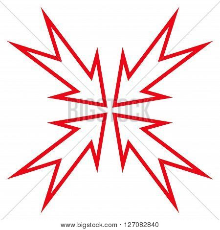 Meeting Point vector icon. Style is thin line icon symbol, red color, white background.