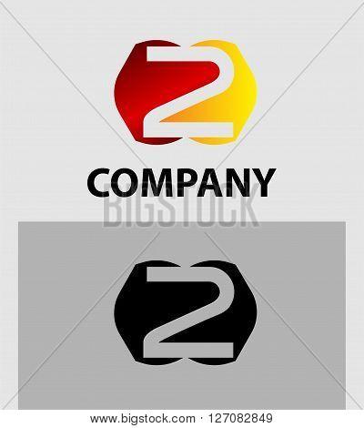 Vector sign number 2 logo. Vector logotype design