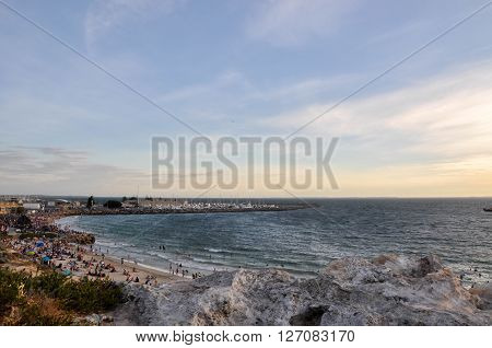 FREMANTLE,WA,AUSTRALIA: JANUARY 26,2016: Bather's Beach with people at dusk on Australia Day in Fremantle, Western Australia.