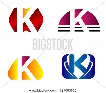Set of letter K logo icons design template elements