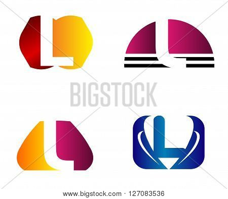 Set of letter L logo icons design template elements