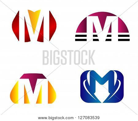 Set of letter M logo icons design template elements