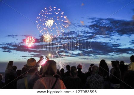 Fireworks display with spectators at the Australia Day celebration on January 26,2016 in Fremantle, Western Australia.
