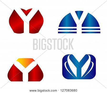 Set of two isolated stylish Y symbol graphic elements Y