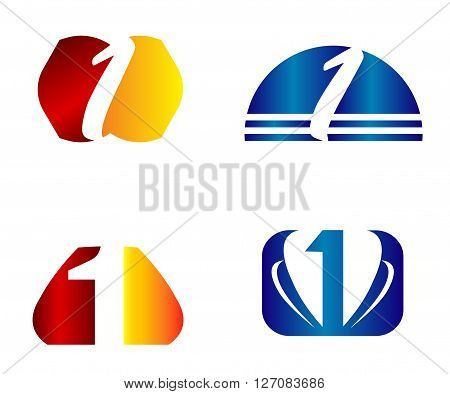 Number one 1 logo icon template. Vector logotype design